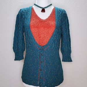 Kimchi & Blue Teal 3/4 sleeve scoop neck sweater S